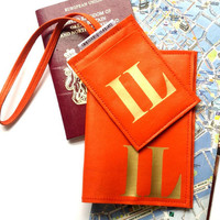 Mia Personalized Monogram Leather Passport Cover & Luggage Tag Set