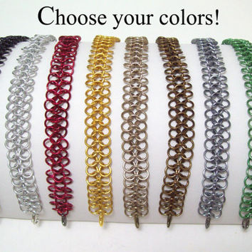 chainmaille, bracelet, anklet, euro 4 in 1, custom color