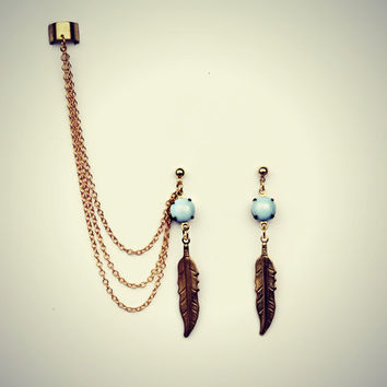 lilac feather ear cuff and earrings