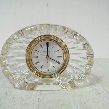 Vintage Howard Miller Clear Lead Glass Alarm Clock - Hollywood Regency Crystal Clear Desk Clock - Retro Howard Miller Anniversary Timepiece