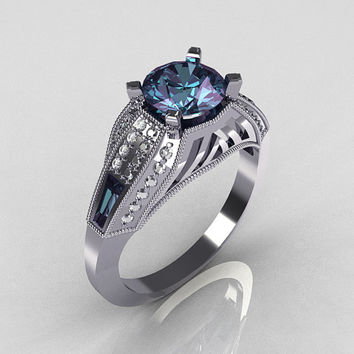 Aztec-Edwardian 10K White Gold 1.0 CT Round and Baguette Alexandrite Diamond Engagement Ring MR001-10WGDAL