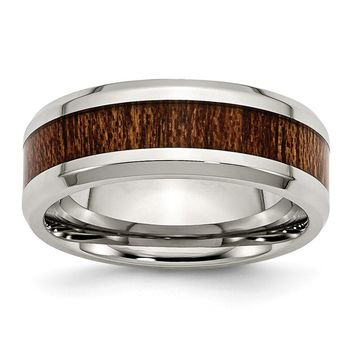 Beveled Edge Black Wood Enamel Ring in Stainless Steel - 8 Mm