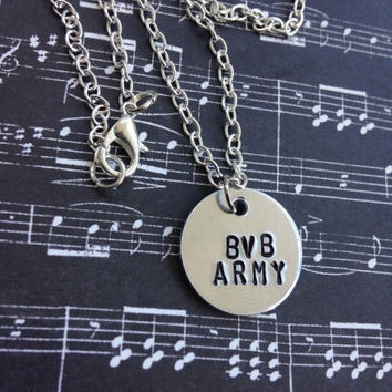 Black Veil Brides BVB ARMY Hand Stamped Necklace