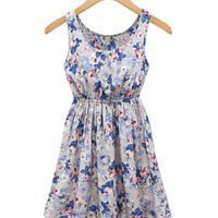 Blue Floral Print  Scoop Neckline High Waisted Skater Dress