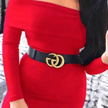 All Eyes Here Long Sleeve Foldover Off The Shoulder Bodycon Bandage Mini Dress - 3 Colors Available