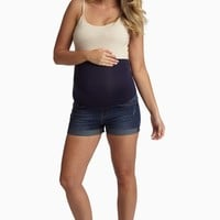 Navy Blue Cuffed Maternity Jean Shorts