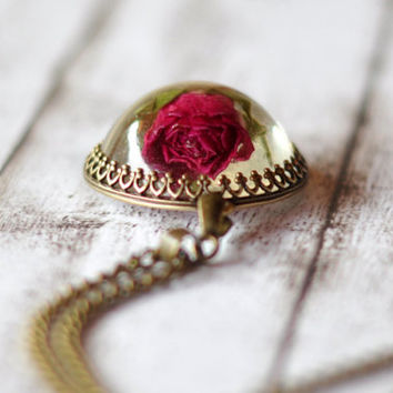 Real Rosebud Crown Pendant - Transparent Resin Cabochon With Real Rose - Flower Resin Jewelry - Botanical Jewelry