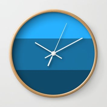 Blue Gradient Pattern Wall Clock by aeontextiles