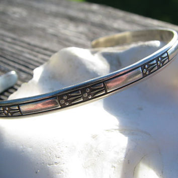 Vintage Sterling Silver Ed Levin Cuff Bracelet - Victorian Lily Design - Lovely Floral - Good Condition