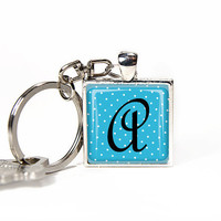 Alphabet letter key chain, personalized glass tile keychain neon blue monogram, key ring, key fob. Rusteam