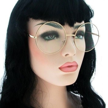 New Vintage Clear Lens Round Metal Glasses Oversize to Small Unisex Eyeglasses