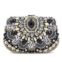 Luxury handbags women evening bags desinger crystal clutches ladies fashion hadnmade party bags female mini rhinestone purses