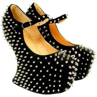 Spiked No Heel Strapped Wedge Platform Heels from CherryKreations21