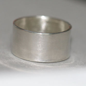 Wide Sterling Silver Ring, Smooth Silver Band, Sterling Silver Ring, Size 5 Ring, Stacking Ring, Rustic Silver RIng Maggie McMane Designs