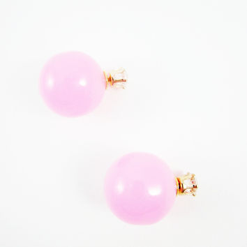 Pink & Rhinestone Double Pearl Earrings