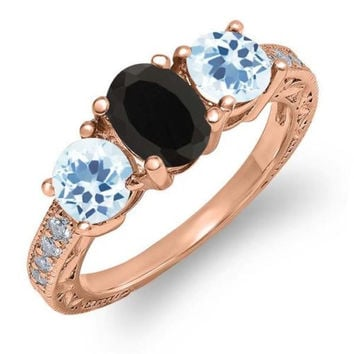 1.92 Ct Oval Black Onyx Sky Blue Topaz 18K Rose Gold Plated Silver Ring