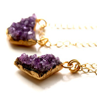 "Brazilian Amethyst Druzy Necklace, 24k gold vermeil, from 22"" to 30"" long, 16k gold plated solid non-tarnish chain."