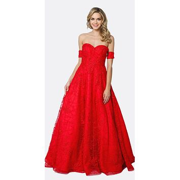 Long Embroidered Lace Ball Gown Dress Red With Arm Band
