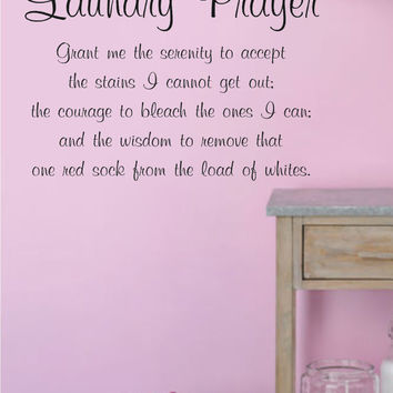 Laundry Prayer-Vinyl Wall Decal Lettering Decor Words for your wall  Quotes for the wall