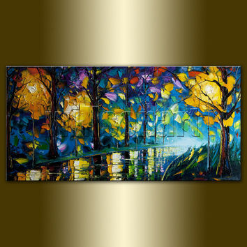 Landscape Painting Oil on Canvas Rainy Night by willsonart on Etsy