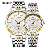 Fashion Business Stainless Steel Quartz Watches Date Calendar Wrist Watches Analog Couples Watches