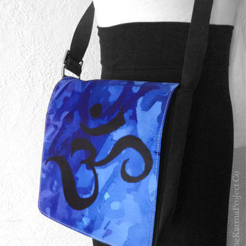 Om CrossBody Shoulder Bag, Yoga Messenger Bag, Wearable Art, Throat Chakra Vishuddha