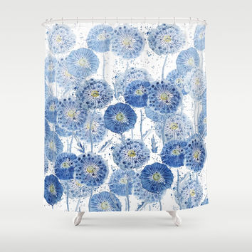 blue indigo dandelion pattern watercolor Shower Curtain by Color and Color