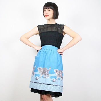 Vintage Apron Half Apron Waist Apron Blue Black Gray Mid Century Modern Cat Cats Kitten Kittens Print Mothers Day Gift For Her Mad Men