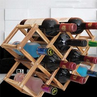 New arrival Classical Wooden Red Wine Rack Beer Kitchen Bar Display Shelf Organizer Foldable 10 Bottle Holder Home Hotel Decor