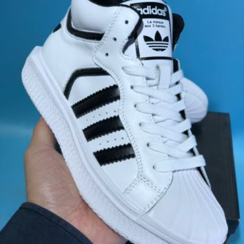 QIYIF Adidas La marque aux 3 bandes Varial Mid Leather Casual Skate Shoes White