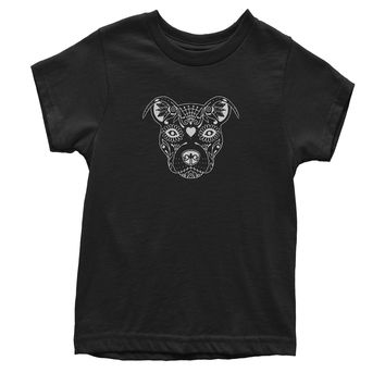Pitbull Sugar Skull Day Of The Dead  Youth T-shirt