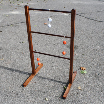 """All Wood Ladder Ball Sets - Stained with Varathane Finish and featuring """"Easy Assembly / Dis-assembly"""" Ladders and Stands"""
