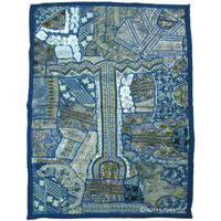 Blue Antique Faux Pearls & Beads Made Indian Vintage Patchwork Tapestry Runner