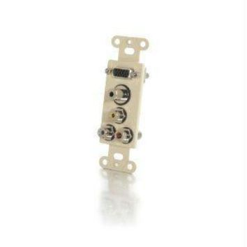 C2g Decorative Hd15 Vga + 3.5mm + Composite Video + Stereo Audio Wall Plate Insert -