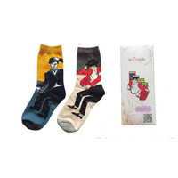 4 pairs inDostyle Men&Women harajuku  printing socks Chaplin Michael Jackson painting Art Sock Cotton Casual boxed socks HK025