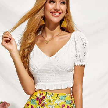 Ruffle Hem Shirred Panel Eyelet Embroidery Top