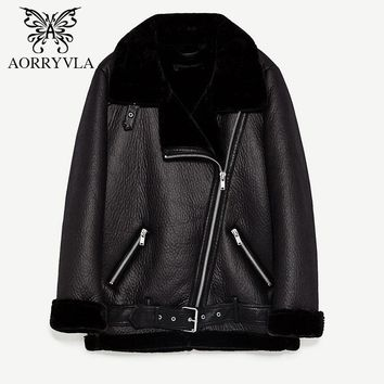 AORRYVLA New Women Faux Sheepskin Coat Winter Vintage Full Sleeve Zippers Regular Length Motorcycle Turn-Down Collar Jacket