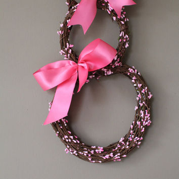 Pink Easter bunny wreath , Door wreaths , Easter Wreath Bunny Door Decor,Spring wreath, Easter Wreath, Berry  wreath-bunny Wreath
