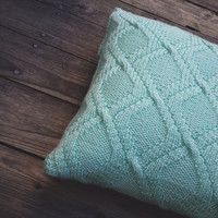 Knit cable pillow case in mint color for home decor