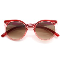 Retro Fashion Round Circle Horned Rim Cateye Sunglasses w/ Keyhole Bridge