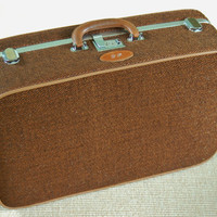 Vintage Ventura Tweed Suitcase with Leather and Chrome Trim, Ventura Travelware Luggage, Unisex Weekender Travel, Overnight Bag, Wedding