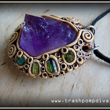 Amethyst Point With Green Tourmaline Reiki Crystal Healing Pendant P-297