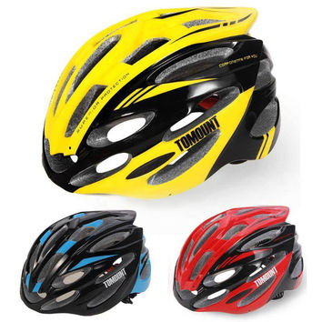 Men Women Cycling Racing Road Helmet MTB Bicycle Bike Safety Equipment 56-63cm EPS Adjustable Yellow Blue Cycling Accessories
