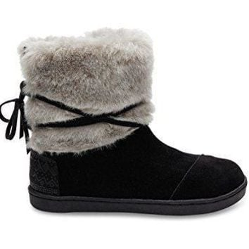 Toms Nepal Boots Black Suede with Faux Fur 10006369 Youth