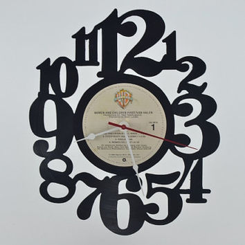 Handmade Vinyl Record Wall Clock (artist is Van Halen)