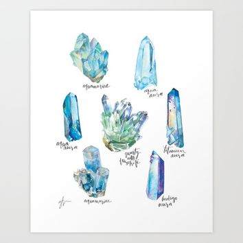 Crystal Collection- Blues Art Print by Andrea Fairservice