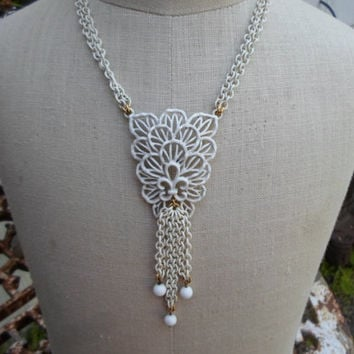 Vintage 1950s to 1960s White Enamel Crown Trifari Metal Necklace and Clip On Chain Earrings Set Non Pierced Gold Tone