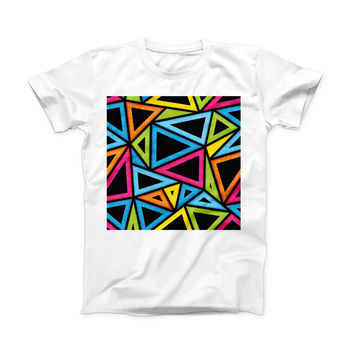 The Vivid Retro Overlap ink-Fuzed Front Spot Graphic Unisex Soft-Fitted Tee Shirt