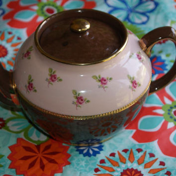 Vintage 1930s SADLER Ceramic Teapot Brown And Pink Floral Rose Motif Gold Trim Number 2429
