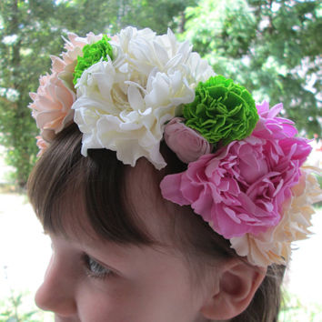Bridal flower crown Blush wedding Floral headpiece Peonies flowers Rustic headpiece Boho chic flower Big flowers Day of the dead Festival